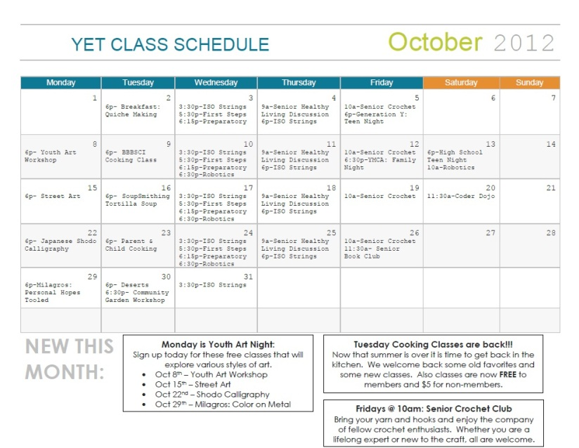 Legacy Center October Class Schedule