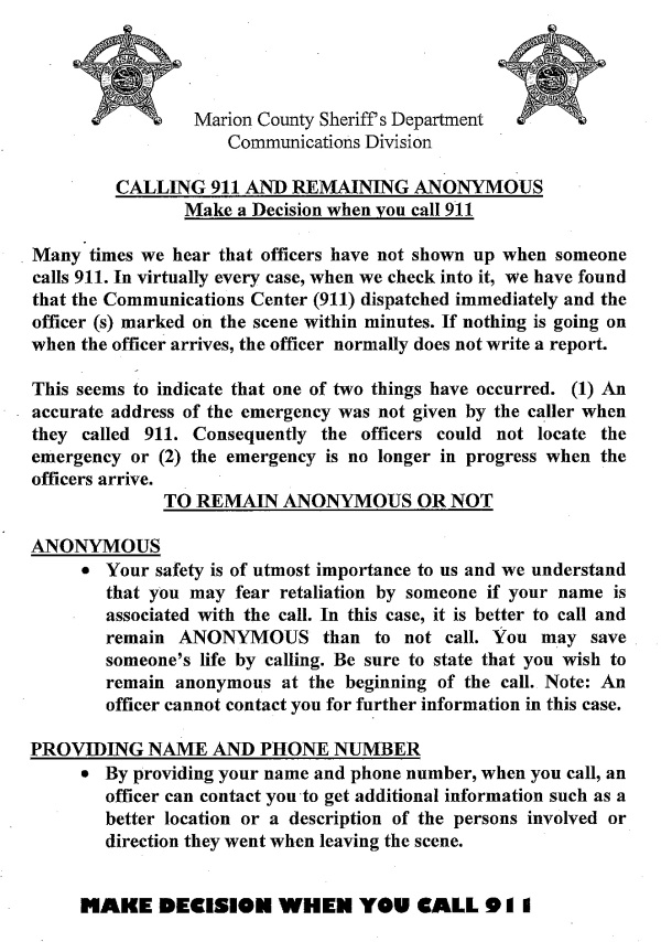 Anonymous 911 Call