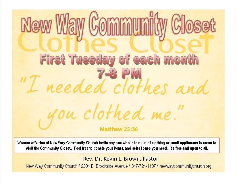 New Way Community Church Clothing Closet